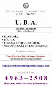 Preparo UBA XXI Pensamiento científico. 49632508. Barrio NortePalermo. Profesora. Zona norte. Capital.
