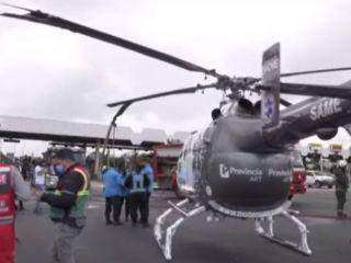Un camión chocó a un helicóptero del SAME